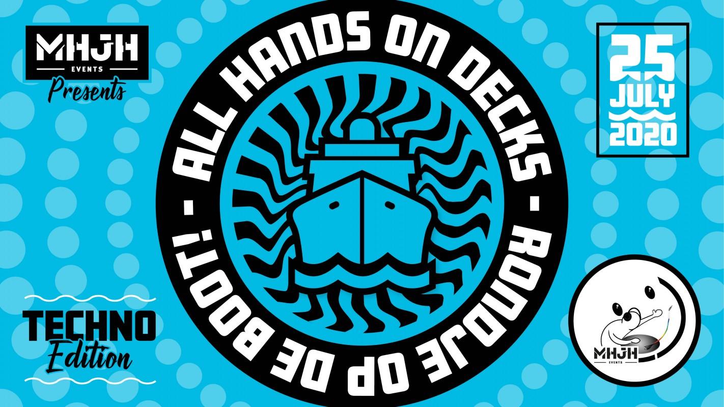 Logo Rondje op de Boot: All hands on decks Techno